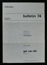 Art & Project # GER VAN ELK, Bulletin 74 # 1974, mint-