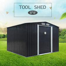Dark Gray 8' x 8'ft Garden Storage Shed Tool House Sliding Door Metal Outdoor
