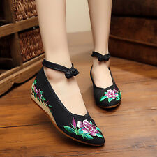 Women Casual Canvas Shoes Chinese Embroidered Flower Oxfords Mary Jane Sandal