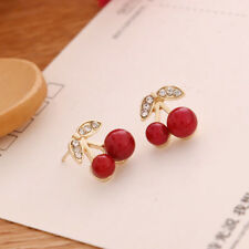 1 Pair New Fashion Women Enamel Cherry Drop Earrings Dangle Stud Gift Casual