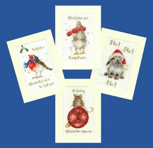 Set Of 4 Wrendale Designs Christmas Card Cross Stitch Kits