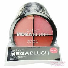 Technic MEGA BLUSHER 4 Colours in 1 Palette Set Deep Red Peach Pink Large 20g