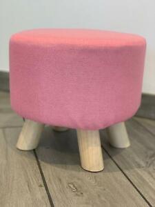 Pink Footstool Kids Nursery Playroom Cute Seat Strong Durable Wooden Legs