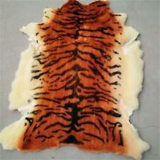 Real Sheepskin Animal Tiger Printed Area Rug Carpet Mat Home Decor 27.5x41 Inchs