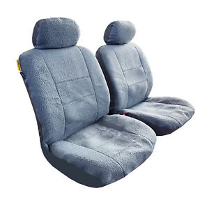 New Arrival 2pcs Sheepskin Grey Velour Front Car Seat Cover Universal Size