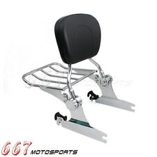 Adjustable Detachable Backrest Sissy Bar w/ Luggage Rack Fit Softail FLSTN 05-15