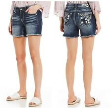 Miss Me Women Flower Emb Vintage Cut Off Shorts Jeans K921 Summer Beach Denim