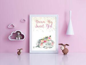 Dream Big Sweet Girl Nursery Wall Art Unframed Print 8 x 10 with Elephant