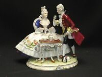 "RARE LARGE ANTIQUE 19c SAXE DRESDEN COUPLE FIGURINE 11"" x 10"""