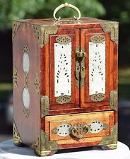 """LARGE 12"""" ANTIQUE CHINESE ROSEWOOD JEWELRY BOX HAND CARVED WHITE JADE ACCENTS"""