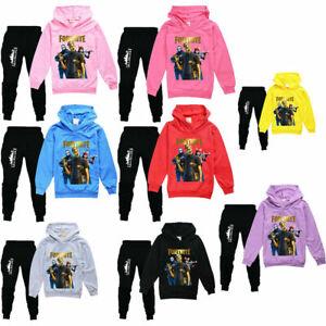 Boys/Girls Kids Fortnite Long Sleeve Hoodies Tracksuits Set Tops+Pants 5-13 Yrs