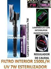 FILTRO INTERNO UV 1500L/H interior LAMPARA 7W ULTRAVIOLETA acuario CON REGULADOR