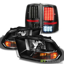 Blk Set 2009-2017 Dodge Ram 1500 2500 3500 Headlights+Full LED Tail Lights Lamps