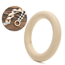 100mm DIY Wooden Beads Connectors Circles Rings Beads Teether Natural Wood