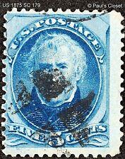 US ZACHARY TAYLOR 5¢ BLUE 1875 P12 SC 179 USED NO GUM HAND MALTESE CORK CX F/VF