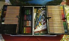 Simply Colour Art Set In Metal Case ~ Color Pencils Pastels Oil Paints & Brushes