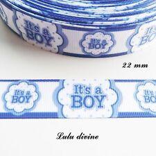 Ruban gros grain blanc liseré bleu It's a boy (C'est un garçon) 22 mm vendu au m