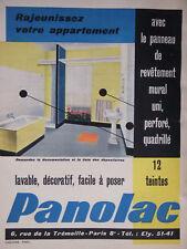 PUBLICITÉ DE PRESSE 1959 PANOLAC PANNEAU DE REVÊTEMENT MURAL UNI - ADVERTISING