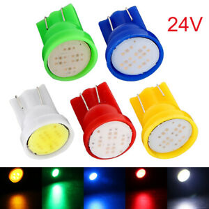 10Pcs DC 24V T10 W5W 2825 158 192 168 194 6SMD COB LED Side Truck Light bulbs