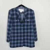 Escada Wool Blue Plaid Long Blazer Jacket - Women's Size 12