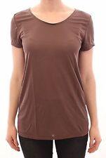 NWT $170 CHLOE Brown Shortsleeve Crewneck Blouse T-shirt Top IT46 / US12 / XL