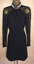 Exquisite Karen Millen Black Lace Sleeve Jewelled Neck Dress UK8 Stunning
