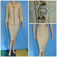 St John Knits Couture Cream Yellow Jacket Skirt L 10 2pc Suit Gold Multi-color