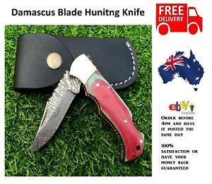 Handmade Red Multi Damascus Pattern Steel Pocket Knife Folding Hunting Camping