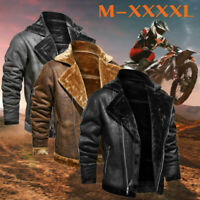 Men's Fashion Jacket Vintage Turn-down Collar Solid Imitation Leather Coat Tops
