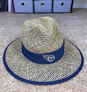 NEW NFL Tennessee Titans New Era Straw Football Hat One Size Beige/Blue