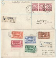 1939/41 2 x BARBADOS FDCS REGISTERED > A DI PIERNO IN NEW YORK UNITED STATES USA