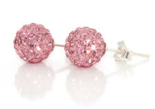 Pale Pink Genuine 925 Solid Sterling Silver Crystal Ball Stud Earrings for Women