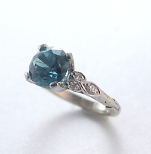 Vintage Diamond Blue Topaz 14k White Gold Ring Fingermate Shank Size 5.5