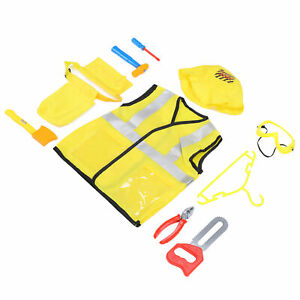 Kids Construction Worker Costume Role Play Dress Up Clothes Props Accessory Gift