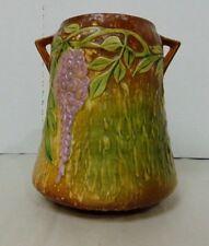 Roseville Wisteria Pottery 633-8 Handled Vase With Original Foil Sticker