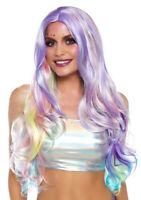 Pastel Rainbow Long Wavy Wig - Mermaid Hair Costume Cosplay Dress-Up