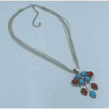 .925 Sterling Silver Natural Blue Kingman Turquoise Italian Coral Chain Necklace