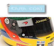 "GPD DECALS F1 1/2 Helmet Visor ""Cara Coat"" Decal Lewis Hamilton Mclaren Mercedes"
