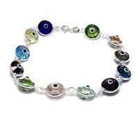 Evil Eye Multi Color Crystal Bracelet .925 Sterling Silver Link Fashion Jewelry