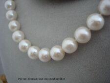 Collier Echte Perlen 10mm / 45cm Weiß Rund, 925er Sterlingsilber Magnetverschl.