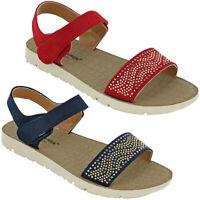 Cushion-Walk Womens Sandals Flat Open Toe Summer Ankle Strap Soft Padded UK 3-8