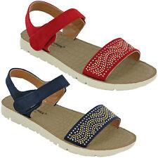 Cushion-Walk Womens Sandals Flat Open Toe Summer Ankle Strap Soft Padded UK 3-8