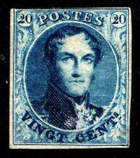1851 Belgium Scott #7 - 20c Leopold Imperf Wmk 96a (no frame) MHR, SCV $800.00