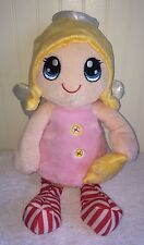 """Kellytoy Pink Angel Plush Yellow Star Red Striped Legs Toy Doll 15"""" 2014 Wings"""