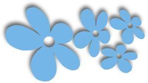 4  hellblau Blumen fürs Auto Blüten Autoaufkleber Stücker Pkw Sticker Aufkleber