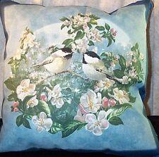 """Home Decor' Pillow Decor  Birds Blue Black White 17"""" inches Square NEW"""