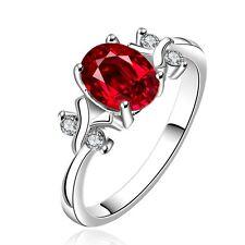 Burgundy Red Zircon Silver Plated medium ring diameter size 17 mm O/7 FR188