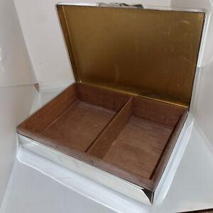 c1950s Retro Silver Plate EPNS Cedar Lined Cigar Cigarette Smoking Box Or Case