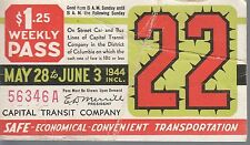 Trolly/Bus pass capital Transit Wash. DC--1944-----91