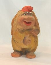 Vintage HENNING Wood TROLL with Red Hat 7 1/2 inches Carved by Hand in Norway